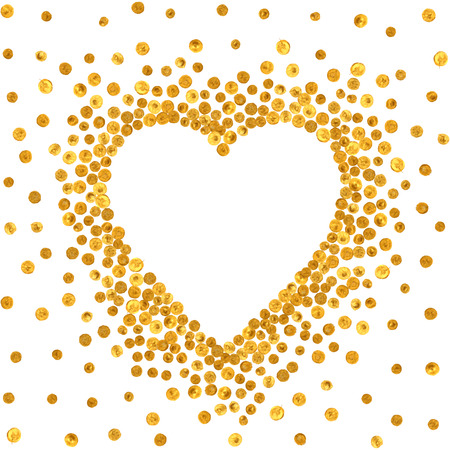 Gold frame in the shape of heart on white background. Pattern of golden acrylic confetti. Design element for festive banner, card, invitation, label, postcard, vignette. Vector illustration.