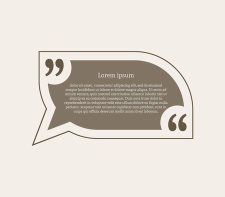 rectangle: Quotation mark speech bubble. Empty quote blank citation template. Rounded rectangle design element for business card, paper sheet, information, note, message, motivation, comment. Vector illustration