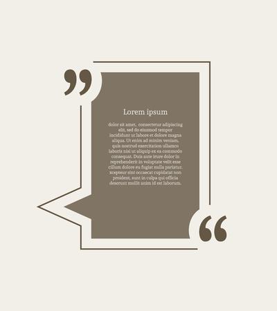 Anführungszeichen Sprechblase. Leere Zitat leere Zitat-Vorlage. Rechteck-Design-Element für die Visitenkarte, Papierblatt, Informationen, anmerkung, mitteilung, motivation, Kommentar usw. Vektor-Illustration.