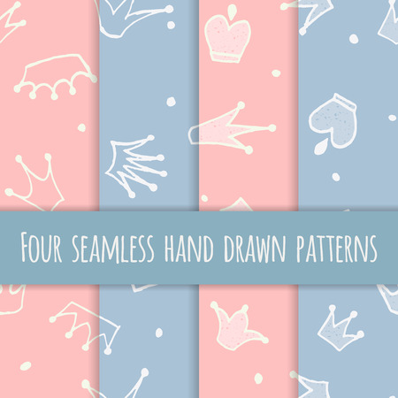Cute hand drawn blue and pink seamless pattern with crowns for little prince or princess. Can be used to design childrens clothing, birthday invitation. Vector illustration. Illustration