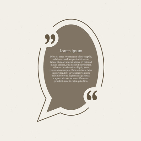 citation: Quotation mark speech bubble. Empty quote blank citation template. Oval design element for business card, paper sheet, information, note, message, motivation, comment etc. Vector illustration.