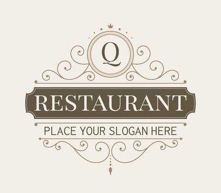 Luxus-Logo und Kunst Vorlage Monogramm Linie. Eleganter kalligraphischer Ornament-Muster. Retro-Stil Vektor-Illustration für Ihr Restaurant, Boutique, Hotel, heraldisch, Schmuck, Mode, Business-Zeichen.