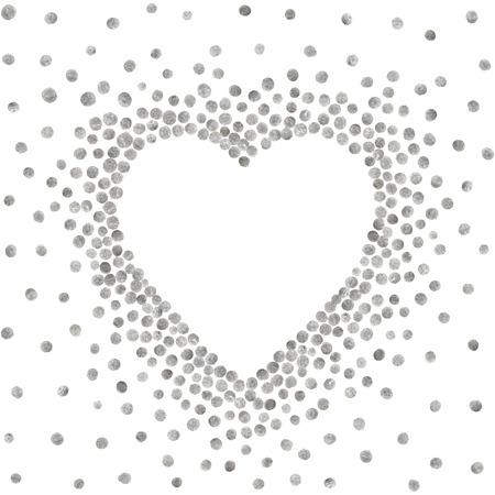 Silver frame in the shape of heart on white background. Pattern of golden acrylic confetti. Design element for festive banner, card, invitation, label, postcard, vignette. Vector illustration.