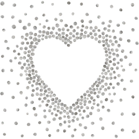Silver frame in the shape of heart on white background. Pattern of golden acrylic confetti. Design element for festive banner, card, invitation, label, postcard, vignette. Vector illustration.