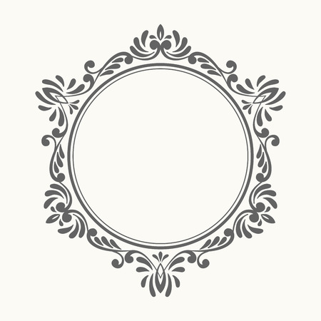Elegant luxury retro floral frame. Design template for banner, card, invitation, label, emblem etc. Lineart vintage vector illustration.
