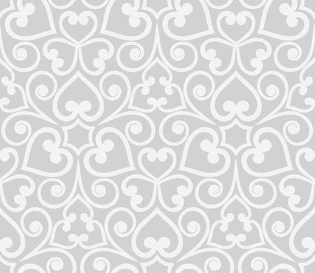 Abstract grey seamless hand-drawn floral pattern. Design element for inscription, banner, card, invitation, postcard, textile and fabric. Vector illustration.