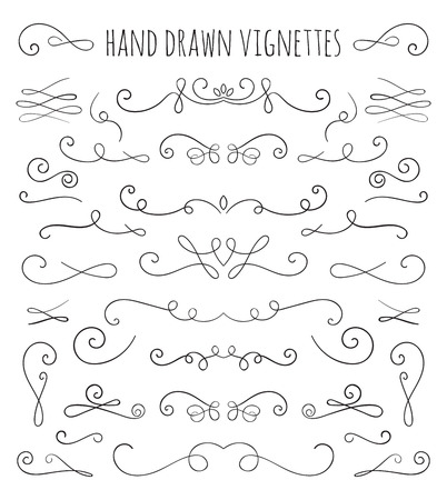 Set of hand drawn vignettes in retro style. Elegant vintage calligraphic borders and dividers for greeting card, retro party, wedding invitation. Illustration
