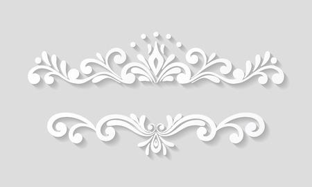 Elegant paper retro floral border. Hand drawn vintage design template for banner, greeting card, wedding invitation, vignette, menu etc. Illustration