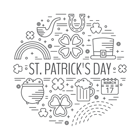 patrik day: St. Patricks day line icons set in circle shape. Design concept for festive banner, greeting card, t-shirt, poster, advertisement.