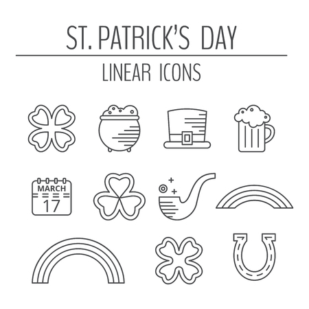 St. Patrick day linear icons set. Modern pictographs of beer mug, calendar, clover leaf, hat and horseshoe, pipe, pot of gold, qua-trefoil, rainbow and trefoil. illustration.