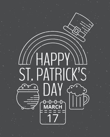 saint paddys day: Happy St. Patricks day grunge vintage poster for St. Patricks day. Design concept for greeting card, festive invitation, t-shirt, template, banner, postcard and poster.
