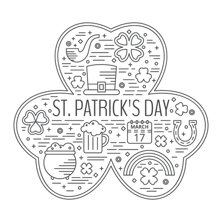 st paddys day: St. Patricks day line icons set in clover shape. Design concept for festive banner, greeting card, t-shirt, poster, advertisement. Illustration