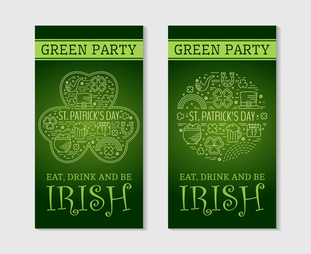 saint paddys day: Two design for St. Patricks day. Design concept for greeting card, festive invitation, t-shirt, template, banner, postcard, poster and party.