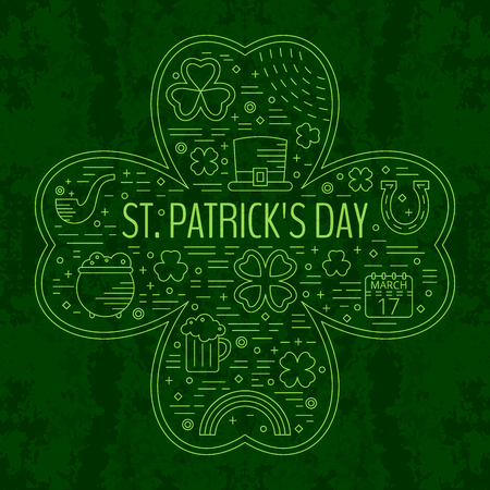 st paddys day: St. Patricks day line icons set in clover shape on green grunge background. Design concept for festive banner, greeting card, flyer, t-shirt, poster, advertisement. Vector illustration.