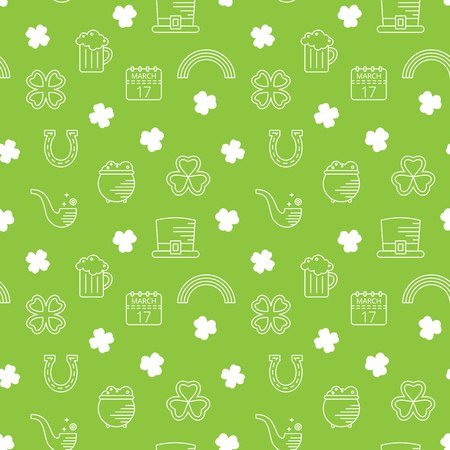 Abstract green seamless line art pattern for St. Patricks day. Design element for banner, card, invitation, postcard, textile, fabric, wrapping paper. Vector illustration. Illustration