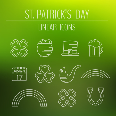 St. Patricks day linear icons set on green background. Modern pictograms of beer mug, calendar, clover leaf, hat and horseshoe, pipe, pot of gold, quatrefoil, rainbow and trefoil. Vector illustration.