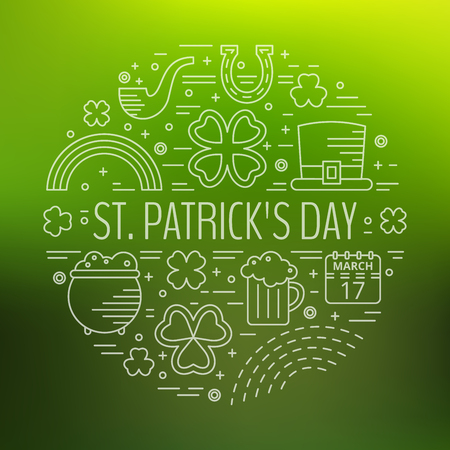 paddys: St. Patricks day line icons set in circle shape on green gradient background. Design concept for festive banner, greeting card, flyer, t-shirt, poster, advertisement. Vector illustration.