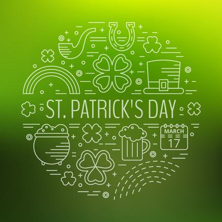 patrik: St. Patricks day line icons set in circle shape on green gradient background. Design concept for festive banner, greeting card, flyer, t-shirt, poster, advertisement. Vector illustration.