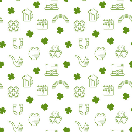 patrik day: Abstract green seamless line art pattern for St. Patricks day. Design element for banner, card, invitation, postcard, textile, fabric, wrapping paper. Vector illustration. Illustration