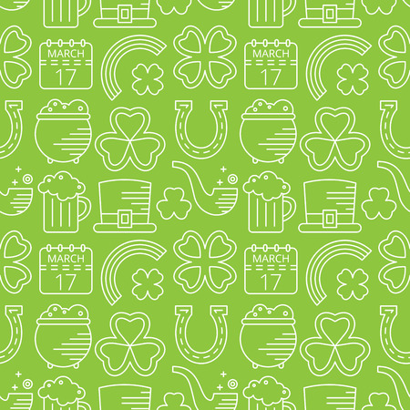 paddys: Abstract green seamless line art pattern for St. Patricks day. Design element for banner, card, invitation, postcard, textile, fabric, wrapping paper. Vector illustration. Illustration