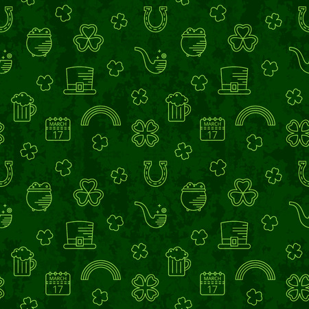 Abstract green seamless line art grunge pattern for St. Patricks day. Design element for banner, card, invitation, postcard, textile, fabric, wrapping paper. Vector illustration.