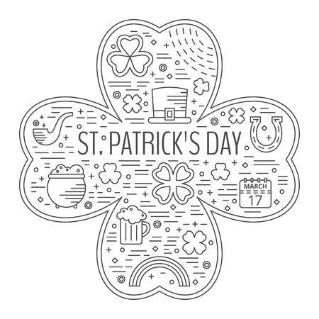 saint paddys day: St. Patricks day line icons set in clover shape. Design concept for festive banner, greeting card, flyer, t-shirt, poster, advertisement. Vector illustration. Illustration