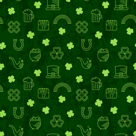 paddys: Abstract green seamless line art grunge pattern for St. Patricks day. Design element for banner, card, invitation, postcard, textile, fabric, wrapping paper. Vector illustration.