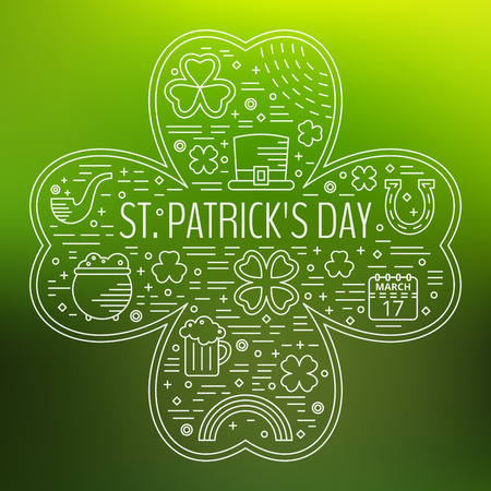 St. Patricks day line icons set in clover shape on green gradient background. Design concept for festive banner, greeting card, flyer, t-shirt, poster, advertisement. Vector illustration.