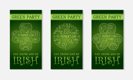 st paddys day: Three flyers for St. Patricks day with traditional festive symbols. Design concept for greeting card, festive invitation, t-shirt, template, banner, postcard, poster and party. Vector illustration.