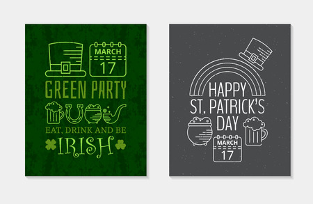 Two Happy St. Patricks day grunge vintage posters for St. Patricks day party. Design concept for greeting card, festive invitation, t-shirt, template, banner, postcard, poster. Vector illustration. Illustration