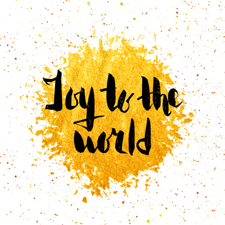 world in hand: Joy to the world hand drawn lettering decoration element on circle gold background. Design element for festive banner, greeting card, poster and flyer. Vector illustration.