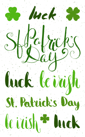 paddys: Set of lettering for St. Patricks day. Grunge textured handwritten calligraphic inscriptions. Design element for greeting card, banner, invitation, postcard, vignette, flyer. Vector illustration.