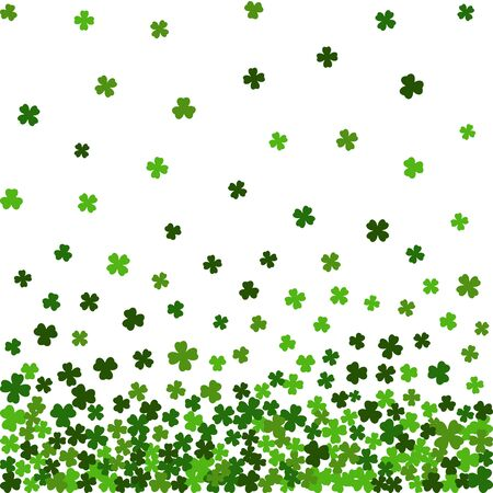 Horizontal green seamless pattern for St. Patricks day from the falling clover leaves on white background. Design for banner, card, invitation, postcard, textile, wrapping paper. Vector illustration.