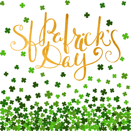 saint paddys day: Be irish gold lettering for St. Patricks day on background of the falling clover leaves. Design for banner, card, invitation, postcard, textile, wrapping paper. Vector illustration.