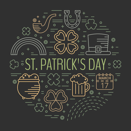 st paddys day: St. Patricks day line icons set in circle shape on black background. Design concept for festive banner, greeting card, flyer, t-shirt, poster, advertisement. Vector illustration.