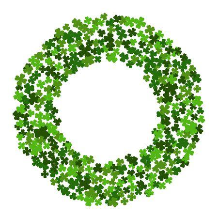 Circle frame with clover leaves for St. Patricks day isolated on white background. Elegant round border for greeting card, postcard, invitation, festive banner, flyer, poster. Vector illustration. Illustration