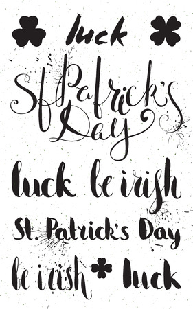 saint paddys day: Set of lettering for St. Patricks day. Handwritten ink calligraphic inscriptions. Design element for greeting card, banner, invitation, postcard, vignette, flyer. Vector illustration. Illustration