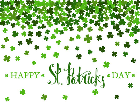 st paddys day: Happy St. Patricks day lettering on background of the falling clover leaves. Design for banner, card, invitation, postcard, textile, wrapping paper. Vector illustration.