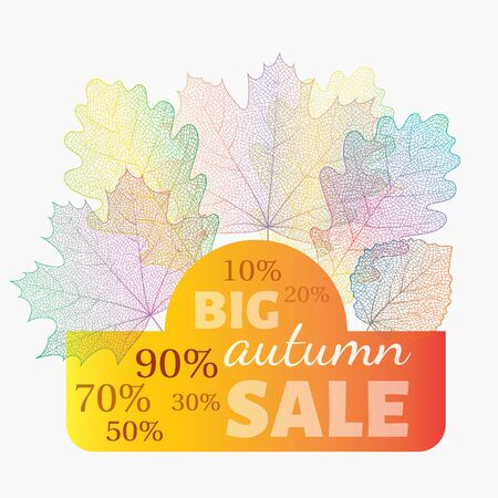 skeleton: Autumn sale banner with discount. Vector skeleton fall leaves on background. Can be used for flyers, banners, posters, cards etc. Vector illustration. Illustration
