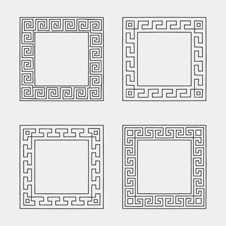 Vector Set Of Four Square Meander Frames. Greek Hand Drawn Border ...
