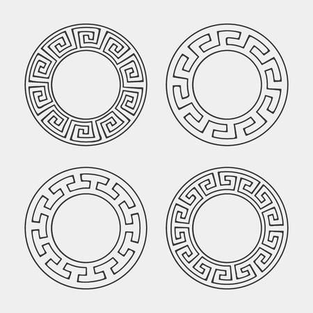circle frame: Vector set of four round meander frames. Greek hand drawn border for banner, card, invitation, postcard, label, poster, emblem and other design elements. Vector isolated illustration. Illustration