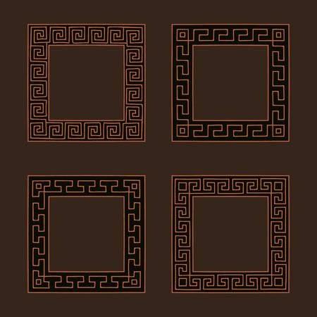 meander: Vector set of four square meander frames. Greek hand drawn border for banner, card, invitation, postcard, label, poster, emblem and other design elements. Vector isolated illustration