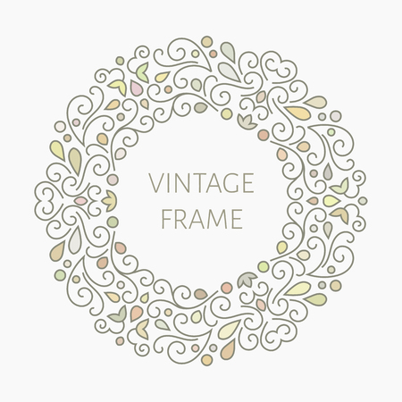 Elegant retro varicolored floral round frame. Design for banner, card, invitation, label, emblem etc. Lineart vintage vector illustration. Vettoriali