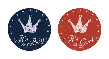 it's: Its a boy and Its a girl labels for banner, scrapbook, greeting, postcard, invitation, emblem etc. Baby announcement cards. Vector illustration for graphic design.