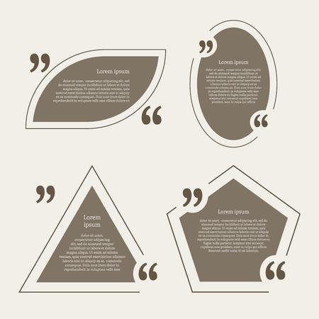 citation: Quote mark speech bubbles set. Empty quote blank citation template. Four different design element for business card, paper sheet, information, note, message, motivation, comment. Vector illustration.