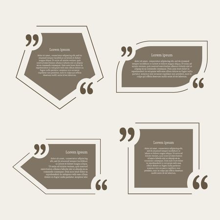 Quote mark speech bubbles set. Empty quote blank citation template. Four different design element for business card, paper sheet, information, note, message, motivation, comment. Vector illustration.
