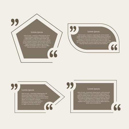 Aanhalingsteken tekstballonnen in te stellen. Lege citaat blanco citaat sjabloon. Vier verschillende design element voor het visitekaartje, vel papier, informatie, nota, bericht, motivatie, commentaar. Vector illustratie. Vector Illustratie