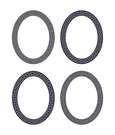 Vector Set Of Four Oval Meander Frames. Greek Hand Drawn Border ...