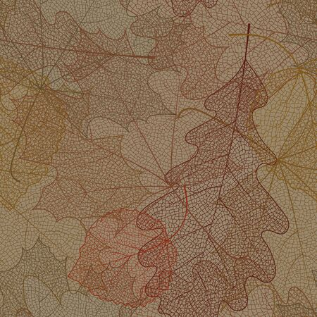 Seamless autumn pattern from skeletons of leaves. Vector illustration for banner, card, background, textile, paper packaging, wrapping paper, scrapbooking, wallpaper and textile. Vector illustration. Фото со стока - 54428808