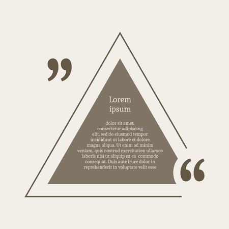 citation: Quotation mark speech bubble. Empty quote blank citation template. Triangle design element for business card, paper sheet, information, note, message, motivation, comment etc. Vector illustration.